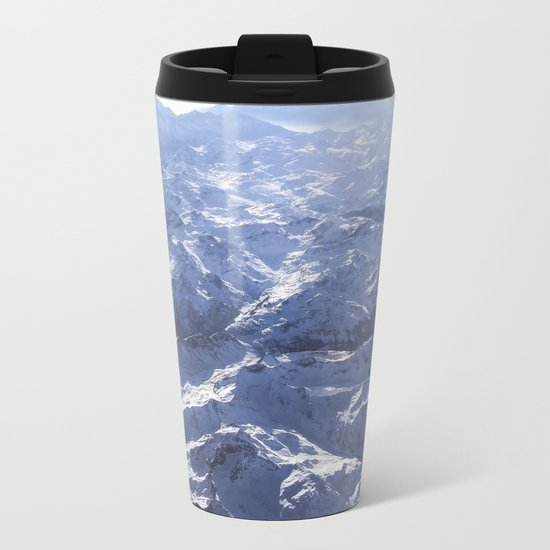 White mountains with snow winter nature Metal Travel Mug