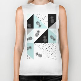 Teal black white dots pineapple geometrical color block Biker Tank
