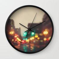 portland Wall Clocks featuring Portland In The Rain by Laura Ruth