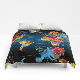 World Map Black - 2 Comforters