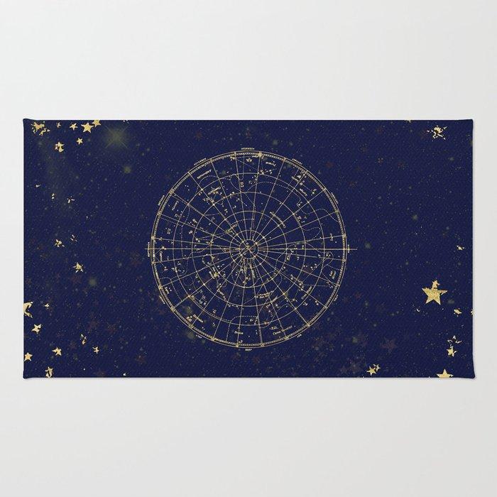 Metallic Gold Vintage Star Map 2 Rug