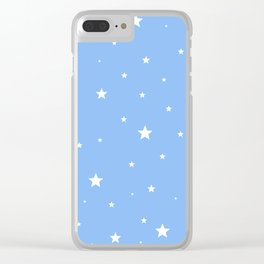 Scattered Stars on Sky Blue Clear iPhone Case