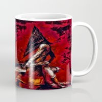 silent hill Mugs featuring Silent Hill Pyramid Head by Joe Misrasi
