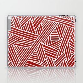 Abstract Navy Red & White Lines and Triangles Pattern Laptop & iPad Skin