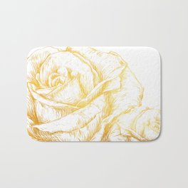Vintage Roses Floral Gold Decorative Bath Mat