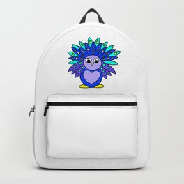 Drawn by hand a Friendly and funny little peacock for children and adults Backpack