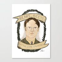 dwight Canvas Prints featuring Dwight Schrute by Rhian Davie
