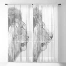 Black and White Lion Profile Sheer Curtain