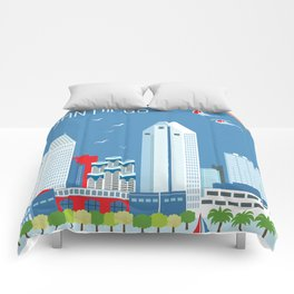 San Diego, California - Skyline Illustration by Loose Petals Comforters
