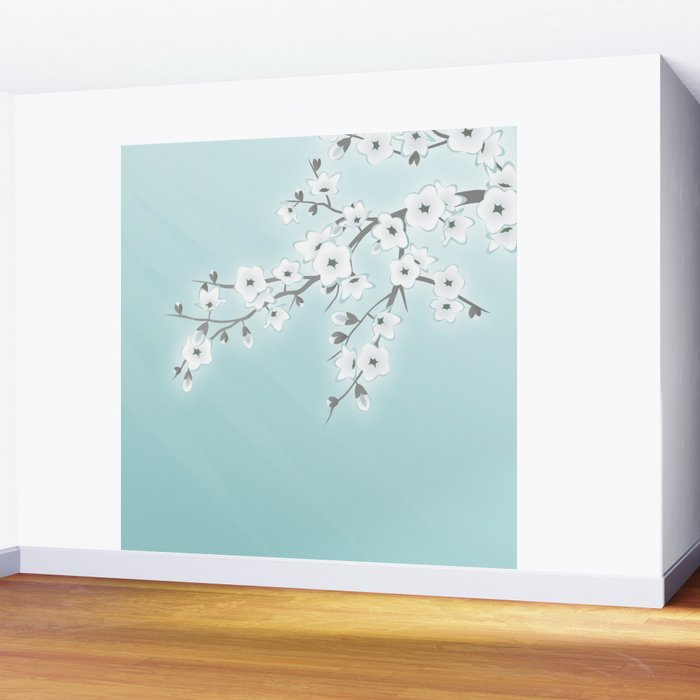 Cherry Blossoms Mint White Wall Mural