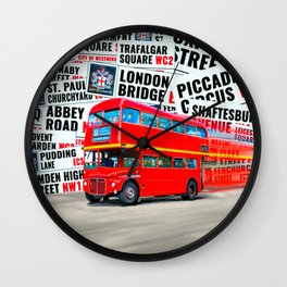 Classic London - Red Double Decker Bus Wall Clock