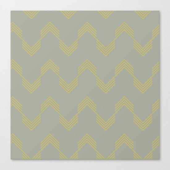 Simply Deconstructed Chevron Mod Yellow on Retro Gray Canvas Print