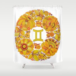 Gemini in Petrykivka Style (without artist's signature/date) Shower Curtain