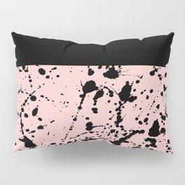 Splat Black on Blush Boarder 2 Pillow Sham