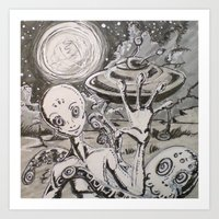 alien Art Prints featuring Alien by Ju.jo.weh