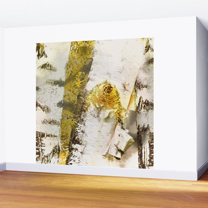 Rustic Gold Knot Close-Up Birch Wall Mural