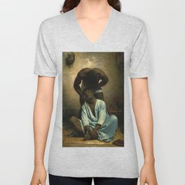 African American Masterpiece, The Barber, A Portrait by Léon Bonnat Unisex V-Neck