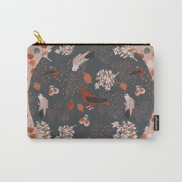 Birds and Berries in Orange Carry-All Pouch