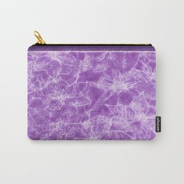 Mixed color Poinsettias 1 Outlined Purple Carry-All Pouch