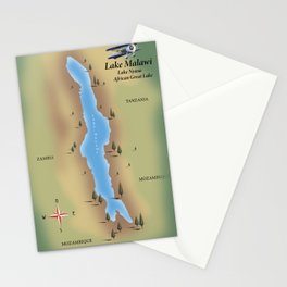 Lake Malawi,travel poster map print Stationery Cards