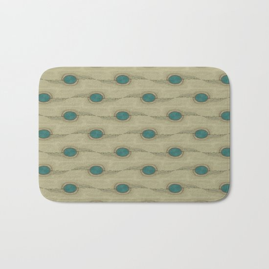 Teal Turquoise Circles Pattern Modern Abstract Bath Mat