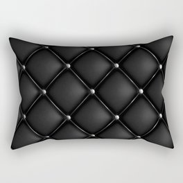 Black Quilted Leather Rectangular Pillow