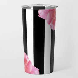 Pink roses on black and white stripes Travel Mug