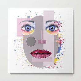 Female portrait in the style of a robot with painting elements. Metal Print