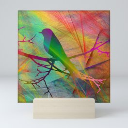 ap070 Bird on branch Mini Art Print