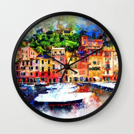 Watercolor painting pier Wall Clock