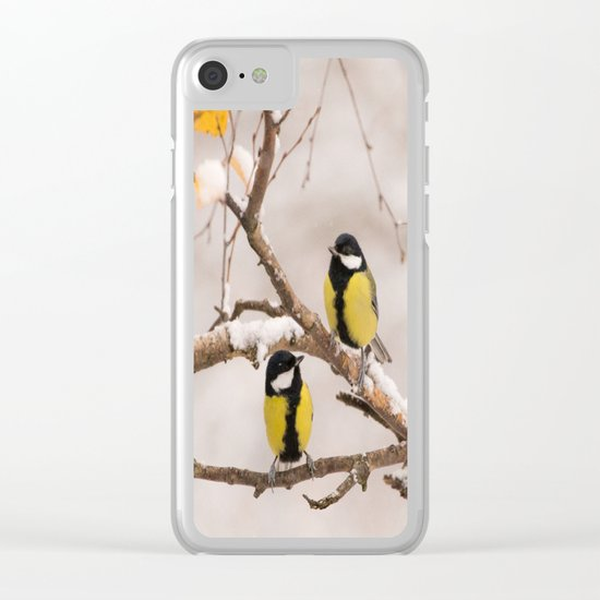 Lovely Songbirds on a Snowy Branch Clear iPhone Case