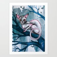 cheshire cat Art Prints featuring Cheshire Cat by Black Fury