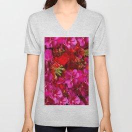 Fuchsia & Red Geraniums Floral Garden Art Unisex V-Neck
