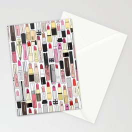 Lipsticks Makeup Collection Illustration Stationery Cards