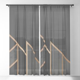 Black & Gold 035 Sheer Curtain