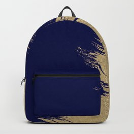 Navy blue abstract faux gold brushstrokes Backpack