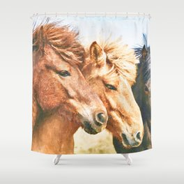 Three horses watercolor painting  Shower Curtain