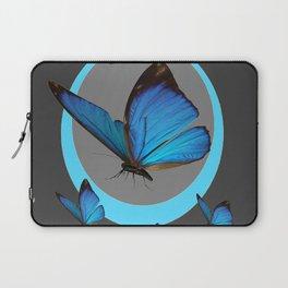 NEON BLUE BUTTERFLIES  & CHARCOAL GREY PATTERN Laptop Sleeve