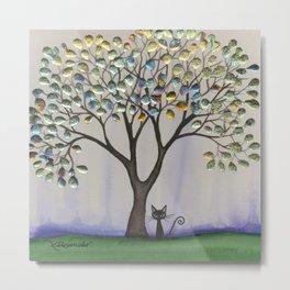 Prescott Whimsical Cat and Tree Metal Print