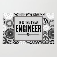 engineer Area & Throw Rugs featuring Trust Me Engineer Quote by EnvyArt