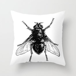 black and white fly Throw Pillow