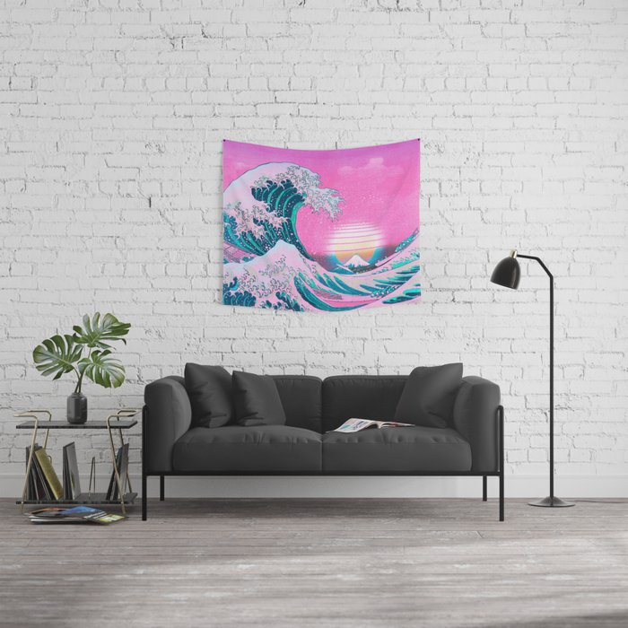 Vaporwave Aesthetic Great Wave Off Kanagawa Wall Tapestry