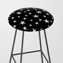 Stars - White on Black Bar Stool