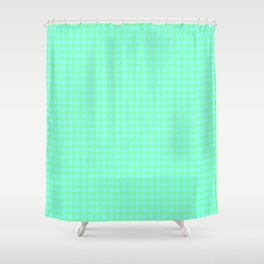 Green On Blue Plaid Shower Curtain