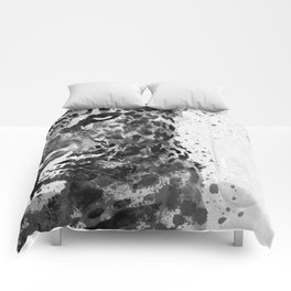 Black And White Half Faced Leopard Comforters