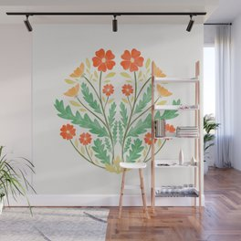Art Nouveau Illustration / Floral / Circular / Red Wall Mural