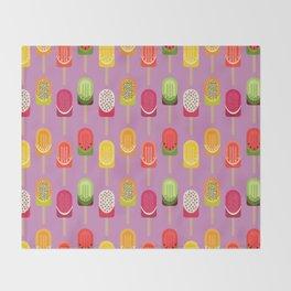 Fruit popsicles - pink version Throw Blanket