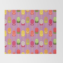 Fruit popsicles - pink version Throw Blanket