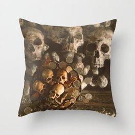 Catacomb Culture - Human Skulls and Coins Throw Pillow