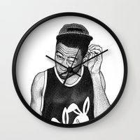 tyler the creator Wall Clocks featuring Tyler the Creator by Rui Faria